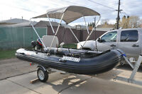 Seamax HD380 12.5 ft Inflatable Pontoon Boat, Motor, Trailer
