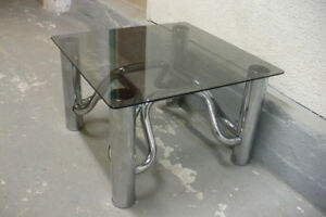 Coffee Table Chrome Tubes Smoked Glass Top Used Furniture Modern