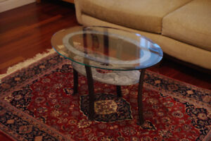 Coffee Table - 'Industrial'-style steel, iron and glass