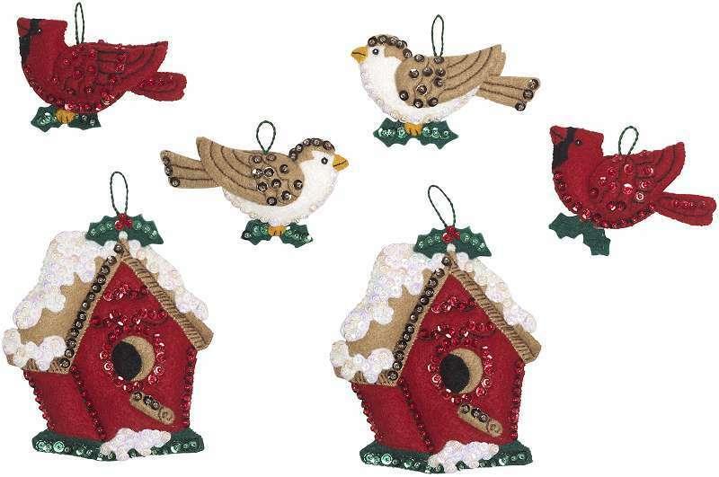"Bucilla Felt Ornaments Applique Kit 4""X3"" Set Of 6 Christmas Bird 046109869810"