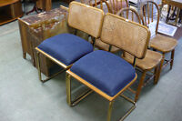 Pair Blue Denim Covered Chairs Metal Frames Brass Caning
