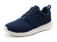 BRAND NEW with Tags - Unisex Nike Roshe Run NAVY/BLACK Running Trainers - SIZE UK 7.5 EURO 42