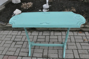 Antique console table, light green