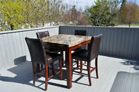 Square bar table with 4 chairs