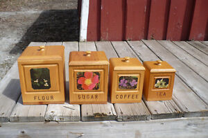 Solid Pine Canister Set Wood Flowers Coffee Tea Kitchen Storage