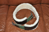 Custom made Leather Girth removable sheepskin 56""