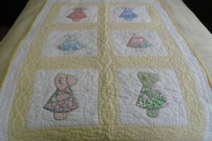 "Antique ""Bonnet Girl"" Crib Quilt"