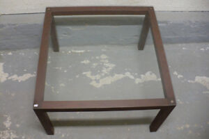 Coffee Table Wood Frame Square Glass Top Used Furniture Modern