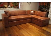 Real Genuine Glossy Leather Corner Sofa Bed 245x164 Couch in Stock STEVENAGE SG1