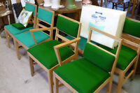 6 Wood Chairs Used Furniture Project Reupholster Dining Green