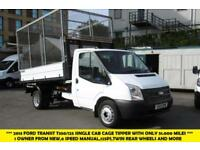 2013 FORD TRANSIT 350/125 SINGLE CAB CAGED TIPPER WITH ONLY 51.000 MILES,6 SPEED