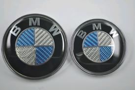 2x Bmw Blue Carbon Bonnet Boot Badges 82mm + 74mm
