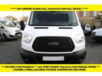 2015 FORD TRANSIT 350/125 L3 DOUBLE CAB STEEL TIPPER WITH REAR STORAGE,6 SPEED,1