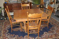 beautiful antique oak dining table and chairs