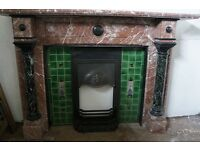 Large antique rouge royal marble fireplace