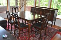 Antique dining room set with buffet, server cabinet and mirror