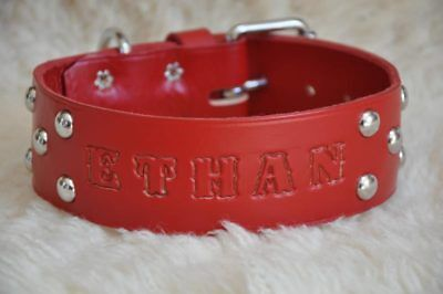 """RED Wide Leather Large  Dog Custom Collar with NAME  2"""" Wide"""