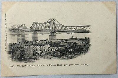 early 1900s Antique Postcard Tonkin Vietnam Hanoi Bridge Fleuve Rouge