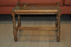 Glass topped wooden side table
