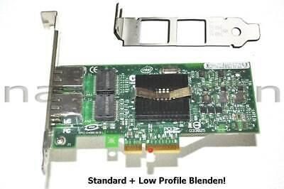 Intel Pro/1000PT Dual Port Server Adapter PCIe Gigabit Ethernet 2xRJ-45, LPF+SPF