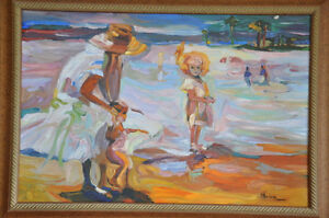 ACRYLIC PAINTING OF MOTHER AND CHILDREN AT THE BEACH