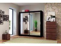 New Modern Large Sliding Berling Door Wardrobe Hanging Rail Shelf Storage Mirror Gloss