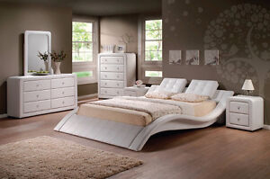 WHITE LEATHER LOW-PROFILE BEDROOM SET LA ROSE