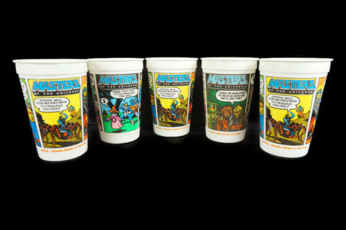 Vintage Masters of the Universe Burger King 5 Plastic Cups 1985