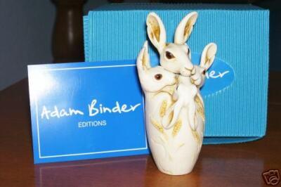 Adam Binder Good Hare Day Rabbits UK Made Marble Resin Box Figurine NIB