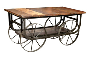 Unique Industrial Coffee Table with Iron Wheels