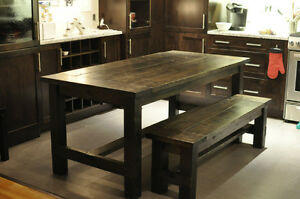 "Rustic Farmhouse Style Dining Tables 34.5 x 72"" with bench"