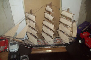 Antique DUSTY Vintage Model Wooden Sailing Ship - FRAGATA SigLo