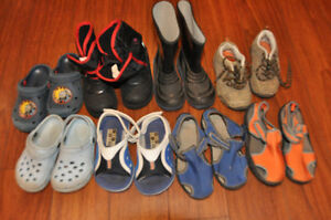 Assorted boys summer crocs and sandals