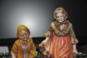 Hand Painted Whiteware Figures (Quaint Old Women)