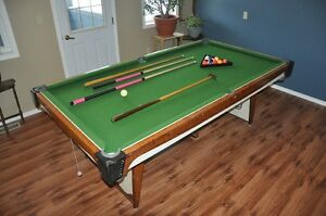 """Pool Table 52"""" X 95"""" complete with rack, balls, 3 cues"""