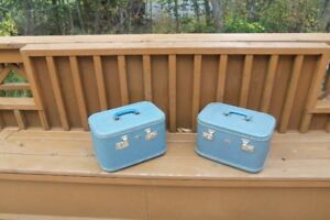 2 Vintage Hardshell carryon suitcase--one is Christies, Amherst