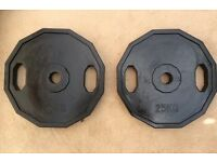 50kg 2x25kg OLYMPIC RUBBERISED HEXAGONAL WEIGHT PLATES SET