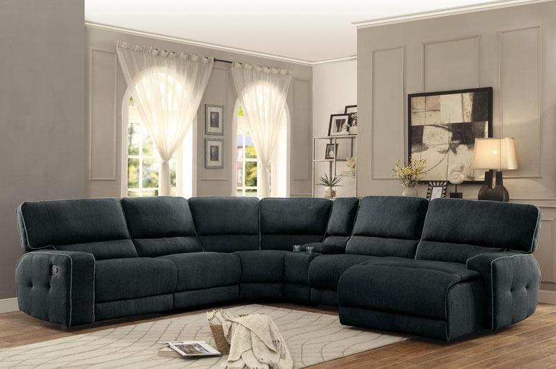 Eliza-6pc Dark Gray Fabric Reclining Sofa Couch Chaise Sectional Set Living Room