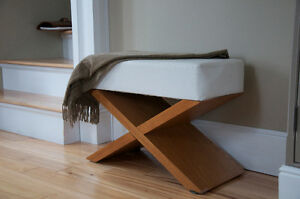 White leather and wood ottoman