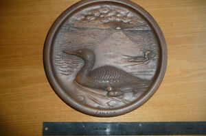 Hand finished Relief Carved Wall Art Plaque of Loons-Robert Kerr