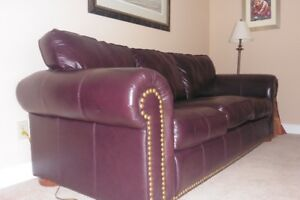 Leather Chesterfield and love seat