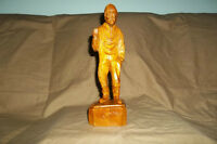 Folk Art Wood Carving OLD FISHERMAN by PAUL E CARON, QUEBEC