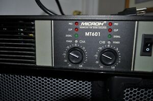 Microh mt601 power amp(1800 watts max) and Force1 EV speakers