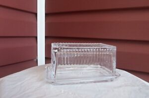 Beautiful Glass Butter dish with BUTTER stamped on lid!
