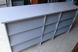 Moving- Awesome Grey Solid wood vintage Dresser with 9 drawers