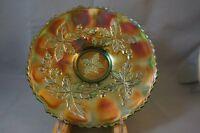 Very Rare Fenton Autumn Acorns Green Carnival Glass Plate 1907