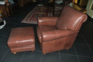 Italian Leather Chair and Ottoman.