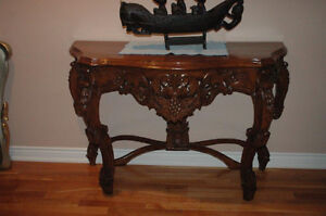 TEAK carved ornate console table
