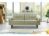 💖🔴DESIGNER FURNITURE-Mazz 2 Seater And 3 Seater Sofa Plush Velvet In Grey And Cream Color