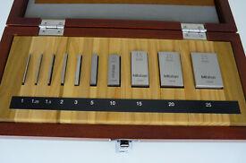 Mitutoyo 10 Piece Steel Slip Gauge Block Set, Metric, Grade 0. Unused, Perfect Condition.
